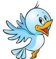 cute blue bird flying cartoon vector image vector image