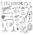 doodle fishing rods floats vector image
