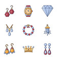 earring icons set cartoon style vector image vector image