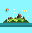 flat design landscape island in ocean nature vector image