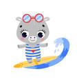 flat doodle cute cartoon summer surfing hippo vector image