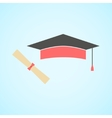 flat graduation cap and diploma concept of vector image