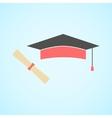 flat graduation cap and diploma concept vector image