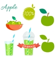 Green apple fruit and juice set vector image vector image