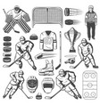 ice hockey icons of players stick puck rink vector image vector image