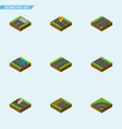 isometric road set of cracks footer navigation vector image vector image