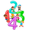 kids playing with big number one to four vector image vector image