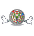money eye cartoon dartcoard next to wooden table vector image vector image