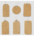 old paper price tag set isolated transparent vector image