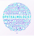 ophthalmologist concept in circle vector image vector image