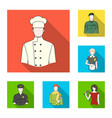 people of different professions flat icons in set vector image
