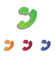 Phone with speech bubble sign Colorfull applique vector image