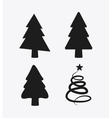 Pine trees icon set Merry Christmas design vector image