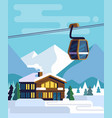 resort with hotel with a ski lift vector image