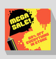 retro sale banner template with spray paint can vector image
