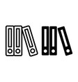 row of binders line and glyph icon binder vector image