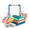 school items composition background with brushes vector image