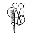 scissors and hair curl with hair vector image vector image