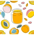 Seamless pattern Apricot jam and fruits vector image