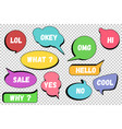 set colorful comic speech bubbles on isolated vector image