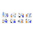 set eight scenes depicting new business launch vector image vector image