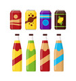 Set of colorful soft drinks in glass bottle and