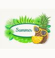 summer banner with pineapple green palm tree vector image vector image