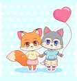 sweet little cute kawaii anime cartoon puppy fox vector image vector image