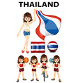 Thailand flag and woman athlete vector image vector image