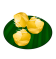 Toddy Palm Cake on Green Banana Leaf vector image vector image