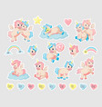 unicorn patch cartoon baanimals with horns and vector image