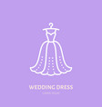 wedding dress on hanger icon clothing shop line vector image vector image