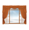 Window with curtains and winter landscape outside vector image vector image