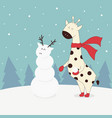 winter with giraffe vector image vector image
