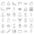 woman icons set outline style vector image vector image