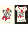 womans short with little fashion tiger vector image