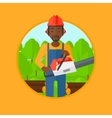 Woodcutter with chainsaw vector image vector image