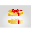 yellow broken present with red ribbon vector image vector image