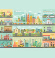 city life infographic set with charts and other vector image