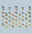 isometric buildings set isolated on blue vector image