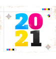 2021 in cmyk style vector image vector image