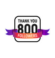 800 followers number with color bright ribbon vector image vector image