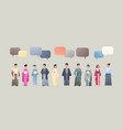 asian men women wearing traditional clothes chat vector image vector image