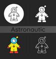 astronaut dark theme icon vector image vector image