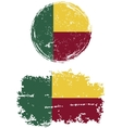 Benin round and square grunge flags vector image vector image
