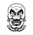 black and white japanese tengu mask vector image