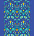 blue pattern with birds vector image vector image