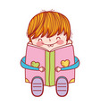 book day cute boy sitting reading book isolated vector image