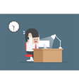 Businessman working overtime at his desk vector image vector image