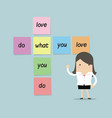 businesswoman with do what you love sticky note vector image